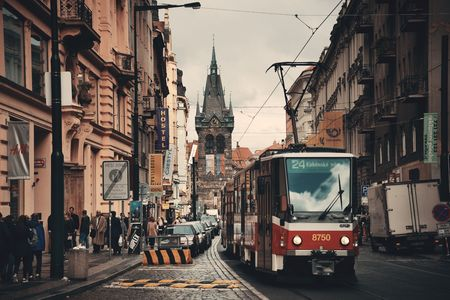 PRAGUE – OCT 8: Street view with tram on October 8, 2016 in Prague, Czech Republic. Prague is the capital and largest city in Czech Republic with rich culture and history.