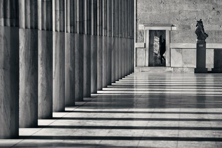 ATHENS - SEP 26: Pedestrian at exhibition hall on September 26, 2016 in Athens, Greece. Stoa of Attalos is a covered walkway in the Agora and the famous city landmark.