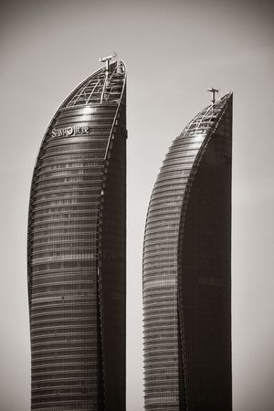 XIAMEN, CHINA – FEB 16: Shimao Twin Tower closeup view on February 26, 2018 in Xiamen. Xiamen was ranked as Chinas 2nd-most suitable city for living 에디토리얼
