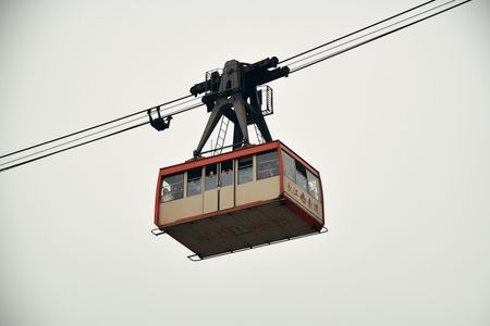 CHONGQING, CHINA – MARCH 13: Cable car closeup view on March 13, 2018 in Chongqing. With 17M population, it is the most populous Chinese municipality. 에디토리얼