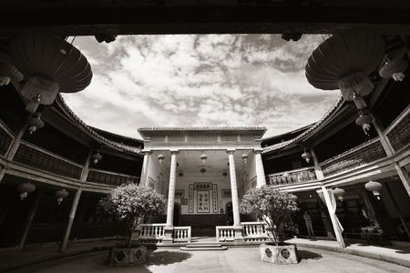 FUJIAN, CHINA – MARCH 2, 2018: Zhencheng Lou is one of the several known Tulou buildings. Tulou is the unique traditional rural dwelling of Hakka. 에디토리얼