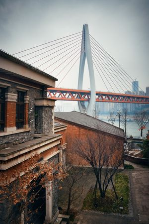 Dongshuimen Bridge viewed from Xiahao Old street in Chongqing, China.