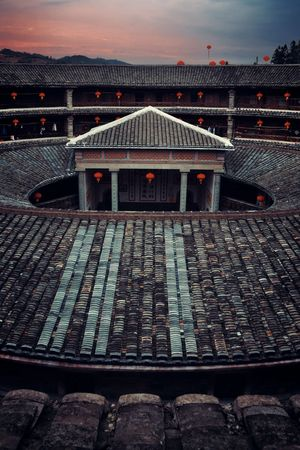 FUJIAN, CHINA – MARCH 2, 2018: Zhencheng Lou is one of the several known Tulou buildings. Tulou is the unique traditional rural dwelling of Hakka. Editöryel