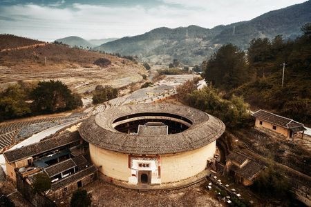FUJIAN, CHINA – MARCH 2, 2018: Aerial view of Tulou. Tulou is the unique traditional rural dwelling of Hakka.