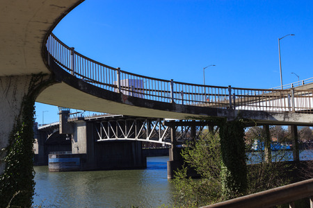 morrison: This sprialed ramp connects bicylists and pedestrians from the Morrison Bridge to the Eastbank Esplanade. Stock Photo