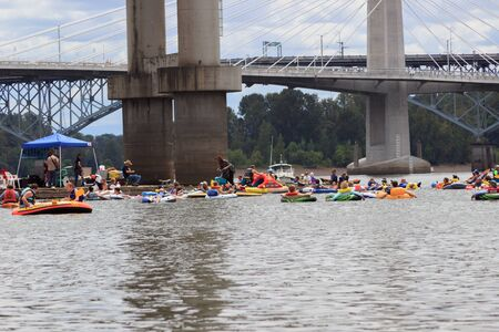 willamette: Portland, Oregon, USA - July 26, 2015: Floaters enjoy the coast down the Willamette RIver during The Big Float 2015