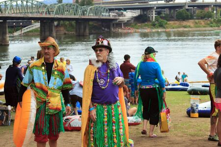 floaters: Attendees preparing their rafts for The Big Float down the Willamette River Editorial