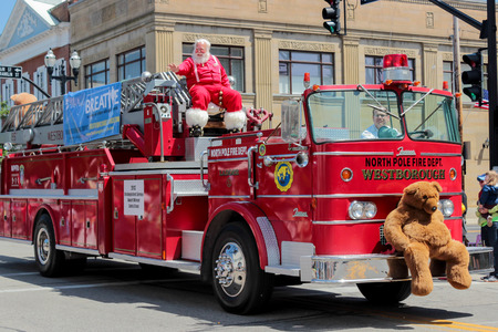 Chagrin Falls, Ohio, USA - May 26th, 2013:  The North Pole Firedepartment on display at  Blossom Time Parade, Chagrin Falls, Ohio Editorial