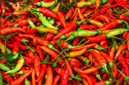 Red and Green Chillies Background,Selective focus