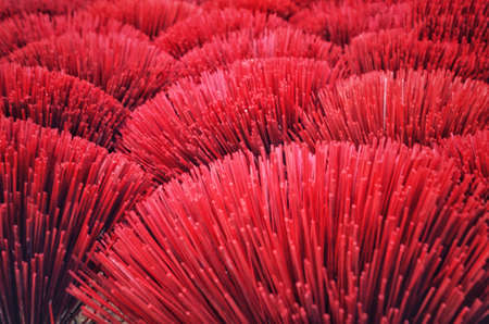 top view of the red incense stick , Selective focus