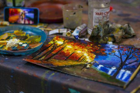 paints: Autumn city in paints.    .    . Stock Photo