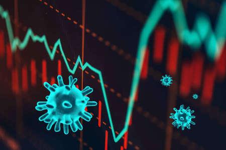 The coronavirus sinks the global stock exchanges. Stock Photo