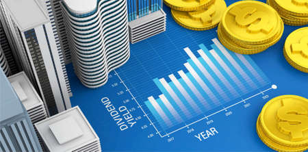 Dividend yield graph of property and real estate investment