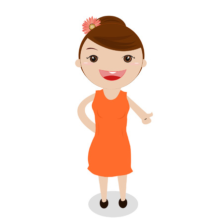a cute little girl on white background. Vector