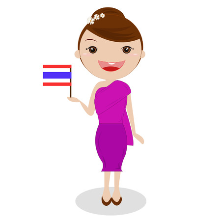 Thailand traditional costume,girl, ASEAN. Vector