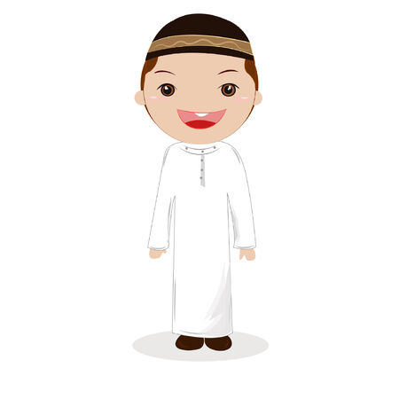 Featuring a Boy Wearing Muslim Clothing. Vector