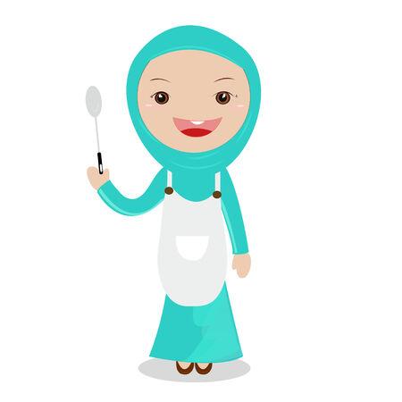 hijab: Cooking girl.