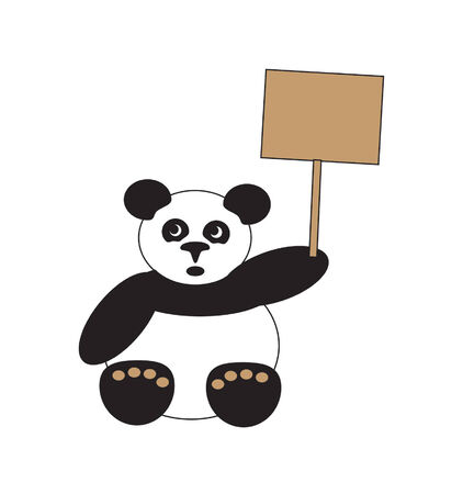 Illustration of panda holding a placard
