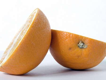 Sliced orange against a plain background
