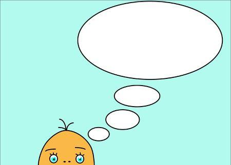 bijschrift: Cartoon illustratie met onderschrift gedachte