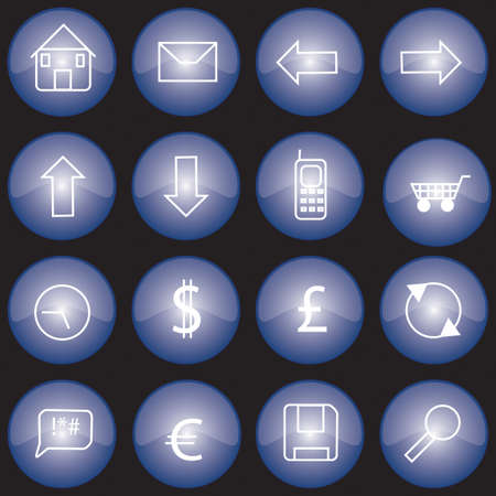 Collection of web buttons or icons with blue glazed finish