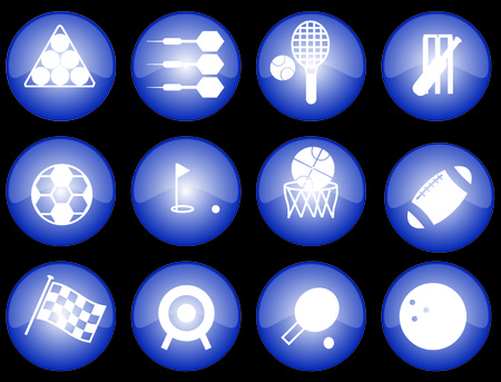 Assorted blue-glazed sports icons and buttons Illustration