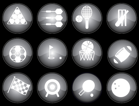 Assorted black-glazed sports icons and buttons Illustration
