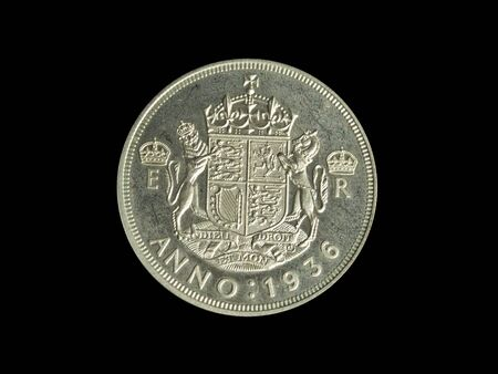 Isolated half-crown coin against a dark background Stock Photo - 2549415