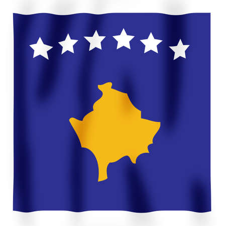 Rippled image of the new Kosovan flag Stock Photo - 2564021