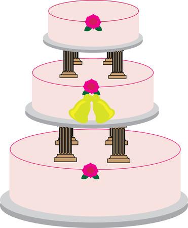 Vector image of a 3-tier wedding cake