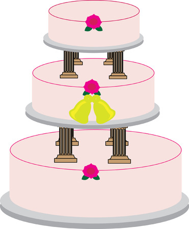 wedlock: Vector image of a 3-tier wedding cake