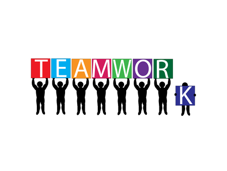 Vector image of team holding up letter placards