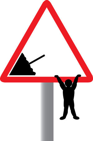 freetime: Vector image of road worker going home