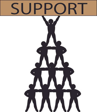 Vector image depicting support network