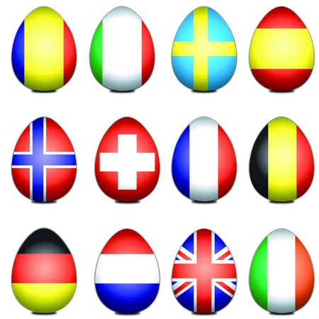 the swedish flag: Assorted European flags styled as easter eggs Stock Photo