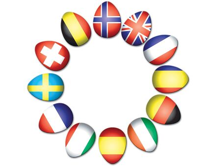 rumanian: Circle of Easter Eggs representing European flags Stock Photo