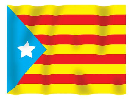 Fluttering image of the Catalan regional flag Stock Photo