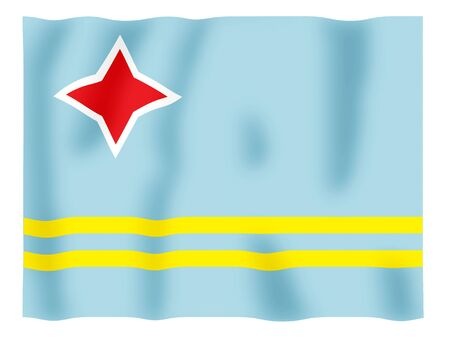 Fluttering image of the Aruba national flag Stock Photo - 2613798