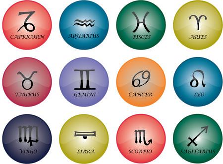 css: Grafico di vettore dei tasti - i segni dello zodiac con multicoloured la glassa