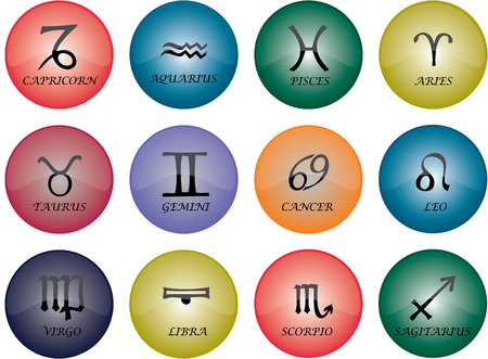 Vector graphic of buttons - zodiac signs with multicoloured glaze Illustration