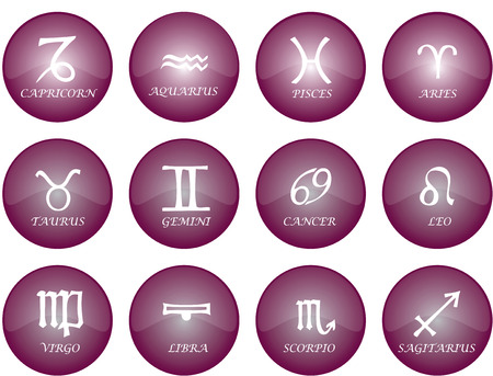 Vector graphic of buttons - zodiac signs with purple glaze Vector
