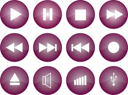 css: Grafica vettoriale di pulsanti stereo con smalto viola Vettoriali