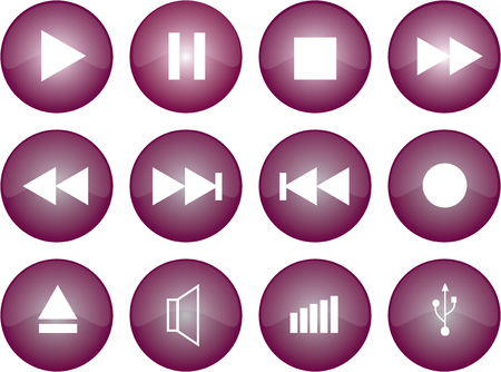 Vector graphic of stereo buttons with purple glaze