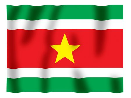 Fluttering image of the Suriname national flag Stock Photo