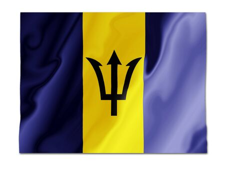 Fluttering image of the Barbados national flag