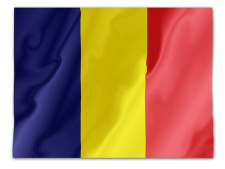 Fluttering image of the Romanian national flag