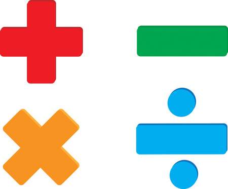 divisions: Vector image of addition, subtraction, multiplication and division symbols