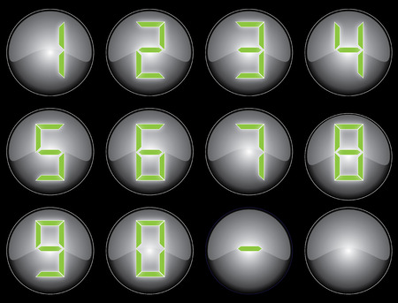 застекленный: Black glazed buttons with calculator style numbers
