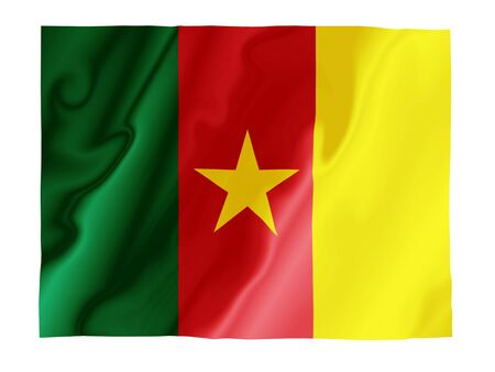 Fluttering image of the Cameroon national flag