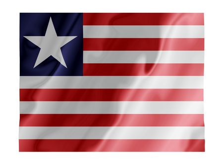 Fluttering image of the Liberian national flag Stock Photo - 2666148